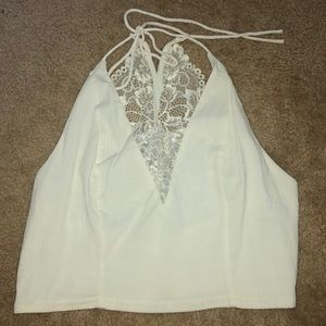 Free People Intimately Lace Crop Halter Top